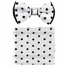 New Men's Pre-tied Bowtie And Hankie Set Two Tone Formal White Black Polka Dot