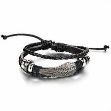 Vintage Angel Wing Multi-layer Mens Women PU Leather Adjustable Wristband Gift
