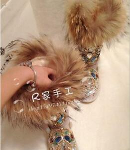 New Women's Faux Fur Winter Thicken Warm Knee Snow Boots rhinestone Shoes Parka