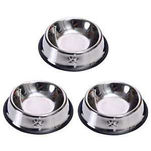 3 Piece Cat Bowl Stainless Steel Anti-slip Non-spill Cat Food Bowl,for Cats Pets