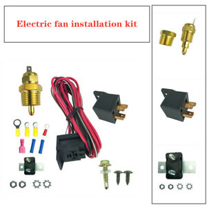 Car Auto Electric Fan Wiring Install Kit Thermostat 50 Amp Relay 185° SBC BBC