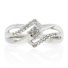 .10ctw Single Cut Diamond Bypass Ring - Sterling Illusion Solitaire w/ Accents