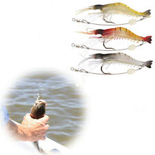 3pcs Soft Plastic Fishing Lures Tackle Prawn Shrimp Flathead Bream Cod Ba Dwwj#