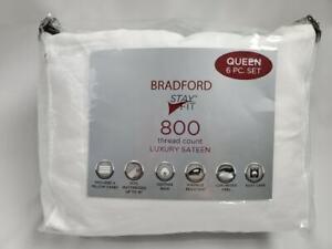 AQ Textiles Bradford StayFit 6-Pc. Queen Sheet Set, 800 Tc WHITE