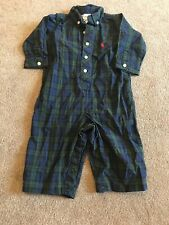 Ralph Lauren Blue And Green Plaid One Piece Outfit Size 9m Euc