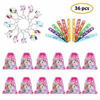 Unicorn Party Favors Set Includes Unicorn Drawstring Bags, Unicorn Bracelets..