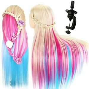 100% Real Hair Practice Training Head Mannequin Hairdressing Doll With Clamp