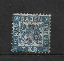 BADEN 1868 7 K.R. blue P10 USED
