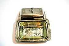 Vintage Butter Dish Silver Plated With Glass Insert  Irvin ware