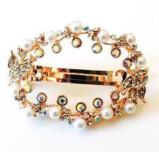 USA BARRETTE Rhinestone Crystal Hair Clip Hairpin Bridal Wedding Pearl Gold F34