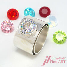 Breiter Ring mit 7 auswechselbaren Farbsteinen - Silber - 14,7 g - Gr. 59