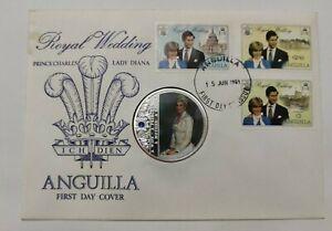 Anguilla 1981 Royal Wedding Charles & Princess Diana stamp FDC inlaid Diana Coin