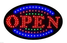 "Jumbo 24"" x 13"" Led Neon Sign with Motion - ""Open"" with Blue/Green Tracer B161"
