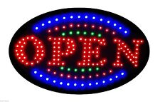 """Jumbo 24"""" x 13"""" LED Neon Sign with Motion - """"OPEN"""" with Blue/Green Tracer B161"""