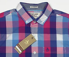 Men's PENGUIN Blue White Pink Plaid Cotton Short Sleeve Shirt Small S NWT NEW