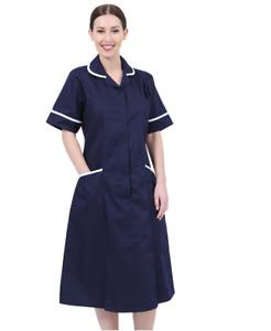 Woman Healthcare Dress Tunic Nurses Uniform Medical Therapist Long Dress-TLD