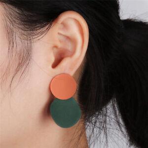 Retro Women Gold Silver Alloy Metal Geometric Stud Dangle Drop Earrings Jewelry
