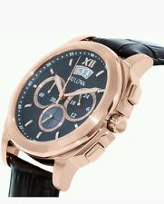Bulova Para Hombre 97B136 Chapado en Oro Rosa Cronógrafo Reloj De Cuero Marrón £ 299 Nuevo