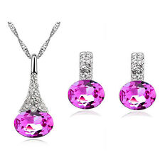 Rose Pink Jewellery Set of Stud Earrings and Necklace Pendant S770