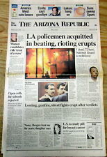 1992 newspaper RODNEY KING RACE RIOTS erupt LOS ANGELES after police r ACQUITTED