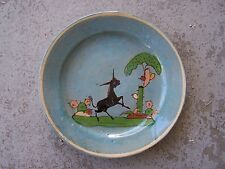 NICE 1940s Painted Plate with Black Burro and Cactus - Tonala, Mexico