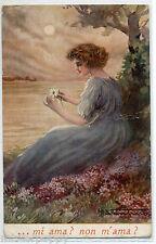 M. SANTINO Mi ama? Non m'ama? Donnina sfoglia Margherita Tramonto PC Circa 1915