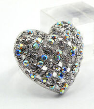 Clear Crystal Heart Adjustable Cocktail Ring