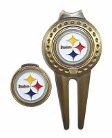Pittsburgh Steelers Hat Clip & Divot Tool with Golf Ball Marker Combo