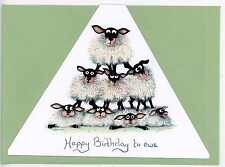 "Mark Denman triangular sheep greeting card ""Happy Birthday to ewe "" blank inside"