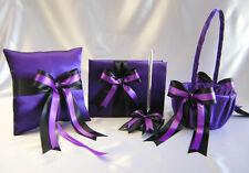 Wedding Purple Black Flower Girl Basket Ring Bearer Pillow Guest Book Pen Set