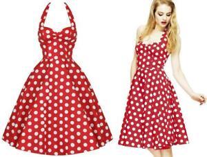 HELL BUNNY 10 12 red white POLKA DOT halter FULL CIRCLE SKIRT DRESS rockabilly