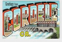 BIG LARGE LETTER VINTAGE POSTCARD GREETINGS FROM GEORGIA CORDELE