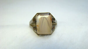 Art Deco Mens Sterling Striped Agate? Stone Ring sz 11