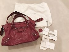 Auth Balenciaga Ltd Edition Giant HW City Red Burgundy Bag Handbag Purse $1950
