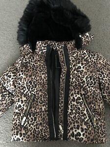 Girls River Island Leopard Puffer Jacket, Age 5-6