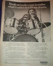 Alan White (YES) Ludwig drums 1976  UK Poster size Press ADVERT 16x12 inches
