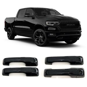 For 2019-2022 Ram 1500 GLOSS BLACK 4 Dr Handle Covers W/O Smartkey ALL NEW MODEL