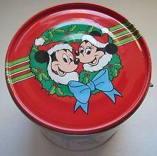 Disney Christmas Tin Mickey Minnie Goofy Pluto Daisy Donald Round Box Lid Handle
