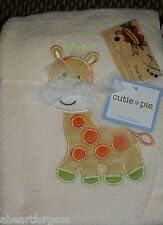 CUTIE PIE BABY BLANKET GIRAFFE PLUSH CREAM JUNGLE ANIMAL GREEN YELLOW BOY NEW