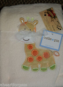 CUTIE PIE BABY BLANKET GIRAFFE PLUSH CREAM JUNGLE ANIMAL GREEN YELLOW BOY NEW