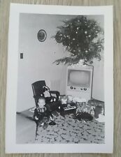Vintage Photo 1950's Cute Little Boy Surrounded by Presents Old Television Tree