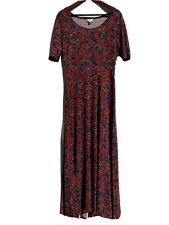 LuLaRoe Women's Size XL Ana Maxi Dress Red Blue Floral Print Made in USA