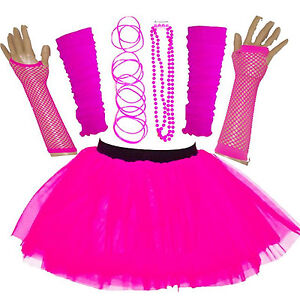 NEW WOMEN'S NEON UV TUTU SKIRT SET 5 PIECES ONE SIZE FANCY DRESS HEN PARTY PINK