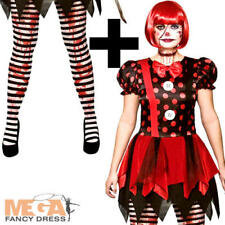 Horror Clown + Tights Ladies Fancy Dress Halloween Circus Adults Womens Costume