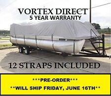 NEW VORTEX GRAY 24 FT Foot Ultra Pontoon Boat Cover w/Elastic Seam + Tie Downs