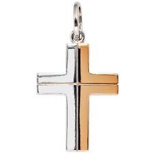 Anhänger Kreuz 585 echt Gold Weißgold bicolor Goldkreuz Rosegold Weißgold 14K