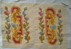 Antique French unfinished needlepoint tapestry arm rests, uncut