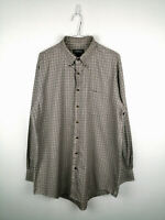 Vintage Mens Shirt Lands End Size XL Tall Beige Check Long Sleeve 100% Cotton US
