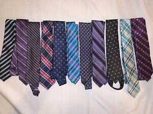 Boys Neck Ties Silk Striped Large Lot Nordstrom Designer Blue Brown Plaid USED