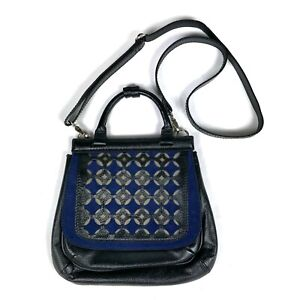 Isabella Fiore Pebbled Leather Crossbody Satchel Purse Black Blue Felt Casual